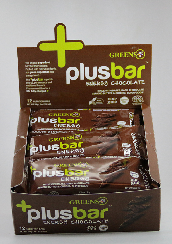 Greens+ Energy Bar Chocolate Box of 12 ,Energy bar, chocolate protein bar, greens plus, superfood