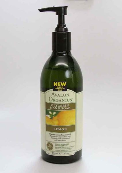 Avalon Organics ,Glycerin Liquid Hand Soap, Lemon scent, Gentle cleansing, organic, vitamin E, panthenol, arginine