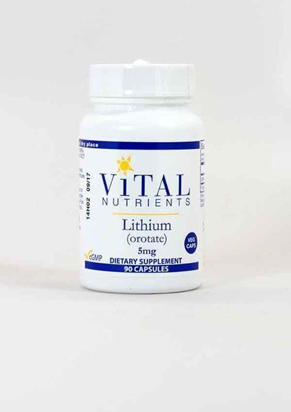 Lithium 5mg, Lithium, Vital Nutrients, mood, supports mood, brain health