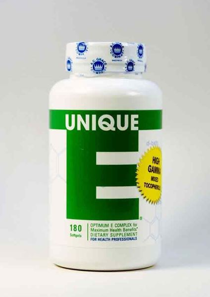 Unique E 180 caps, anti-aging, antioxidants, vitamin E, mixed tocopherols, Unique E, cardiovascular health