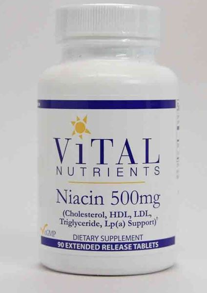 Vital Nutrients, Niacin, Niacin extended release, cholesterol, HDL, LDL, Triglyceride, LP(A) support, lipid metabolism